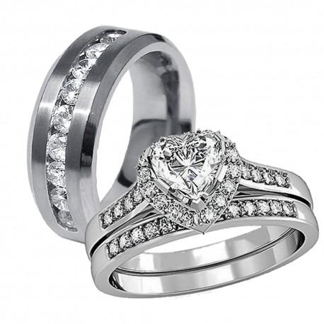 3 Pcs His Hers Stainless Steel Women S Wedding Engagement Rings Men Matching